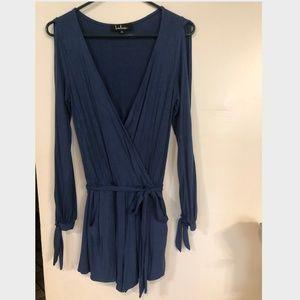 Lulu's Blue Open Sleeve Romper